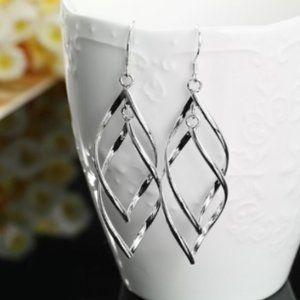 Jewelry - Sterling Silver Plated Twist Earrings, New!